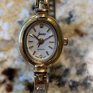 Jasco Crystal with Gold Over Sterling Band Watch